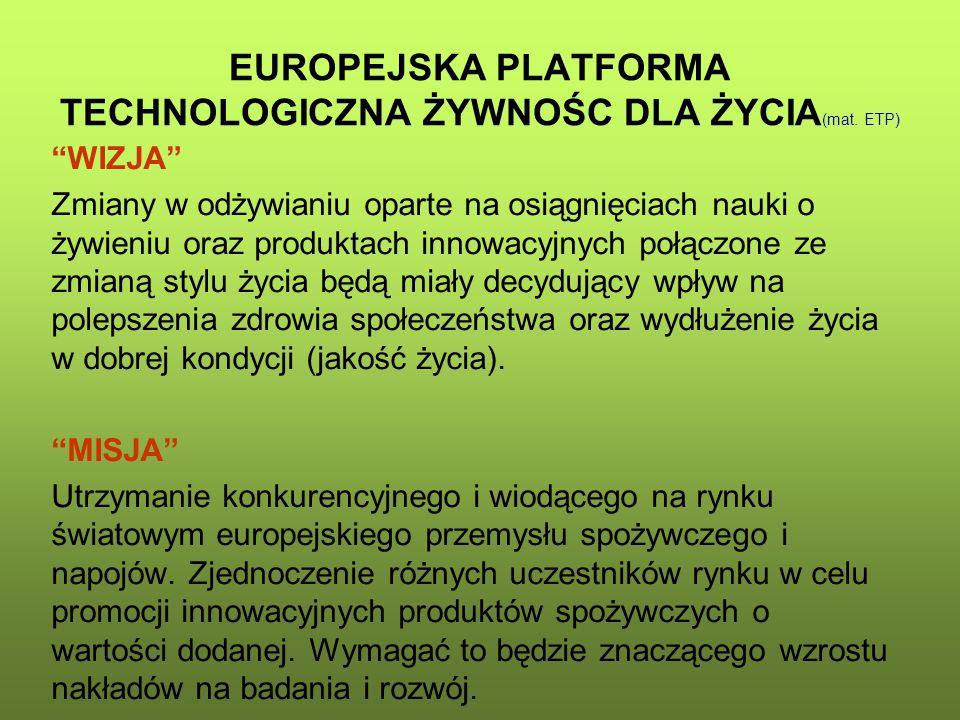 """EUROPEJSKA PLATFORMA TECHNOLOGICZNA ŻYWNOŚC DLA ŻYCIA (mat. ETP) """"WIZJA"""" Zmiany w odżywianiu oparte na osiągnięciach nauki o żywieniu oraz produktach"""