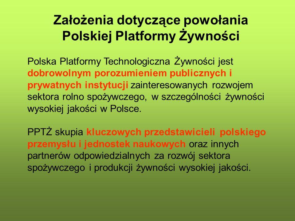 Założenia dotyczące powołania Polskiej Platformy Żywności Polska Platformy Technologiczna Żywności jest dobrowolnym porozumieniem publicznych i prywat