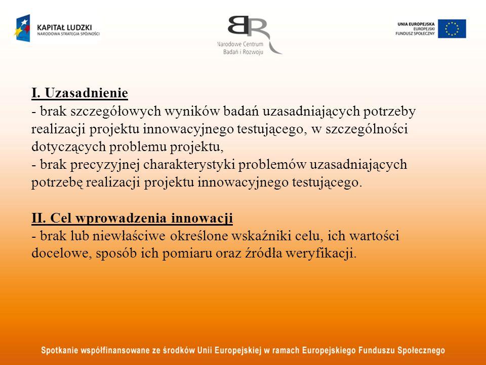 I. Uzasadnienie - brak szczegółowych wyników badań uzasadniających potrzeby realizacji projektu innowacyjnego testującego, w szczególności dotyczących