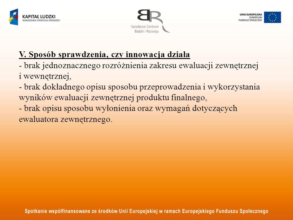 V. Sposób sprawdzenia, czy innowacja działa - brak jednoznacznego rozróżnienia zakresu ewaluacji zewnętrznej i wewnętrznej, - brak dokładnego opisu sp