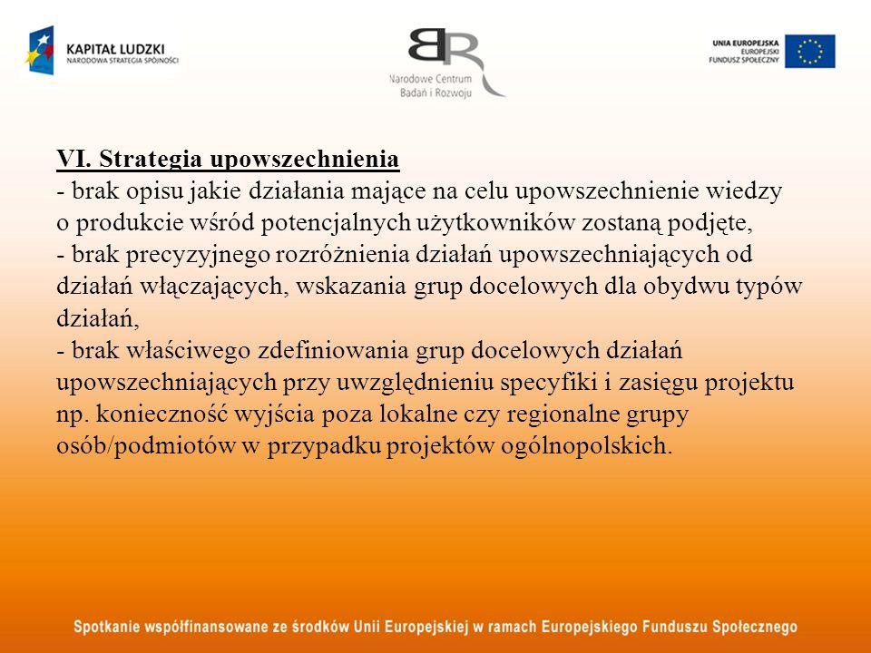 VI. Strategia upowszechnienia - brak opisu jakie działania mające na celu upowszechnienie wiedzy o produkcie wśród potencjalnych użytkowników zostaną