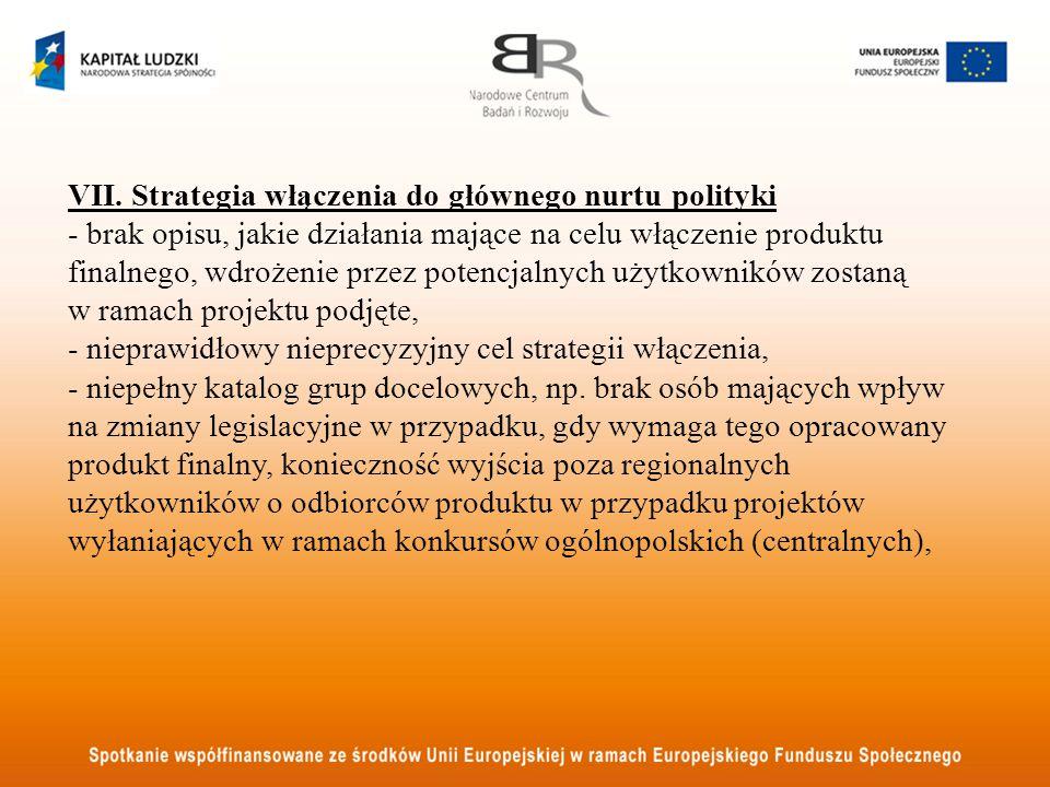 VII. Strategia włączenia do głównego nurtu polityki - brak opisu, jakie działania mające na celu włączenie produktu finalnego, wdrożenie przez potencj