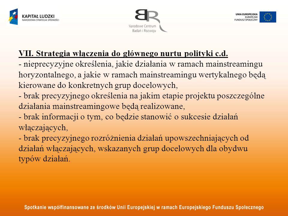 VII. Strategia włączenia do głównego nurtu polityki c.d. - nieprecyzyjne określenia, jakie działania w ramach mainstreamingu horyzontalnego, a jakie w