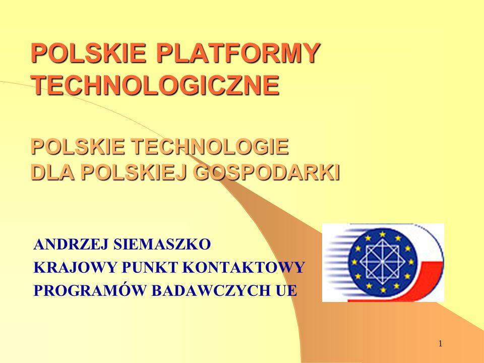 1 POLSKIE PLATFORMY TECHNOLOGICZNE POLSKIE TECHNOLOGIE DLA POLSKIEJ GOSPODARKI ANDRZEJ SIEMASZKO KRAJOWY PUNKT KONTAKTOWY PROGRAMÓW BADAWCZYCH UE