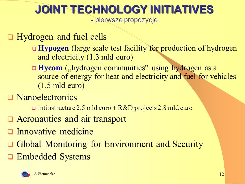 A.Siemaszko 12 JOINT TECHNOLOGY INITIATIVES JOINT TECHNOLOGY INITIATIVES - pierwsze propozycje  Hydrogen and fuel cells  Hypogen (large scale test f