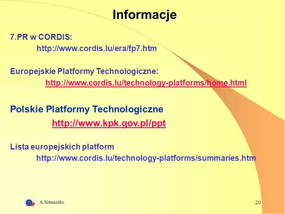 A.Siemaszko 20Informacje 7.PR w CORDIS: http://www.cordis.lu/era/fp7.htm Europejskie Platformy Technologiczne: http://www.cordis.lu/technology-platfor