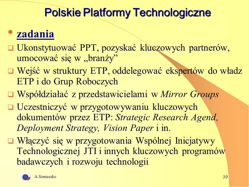 """A.Siemaszko 39 Polskie Platformy Technologiczne zadania  Ukonstytuować PPT, pozyskać kluczowych partnerów, umocować się w """"branży""""  Wejść w struktur"""