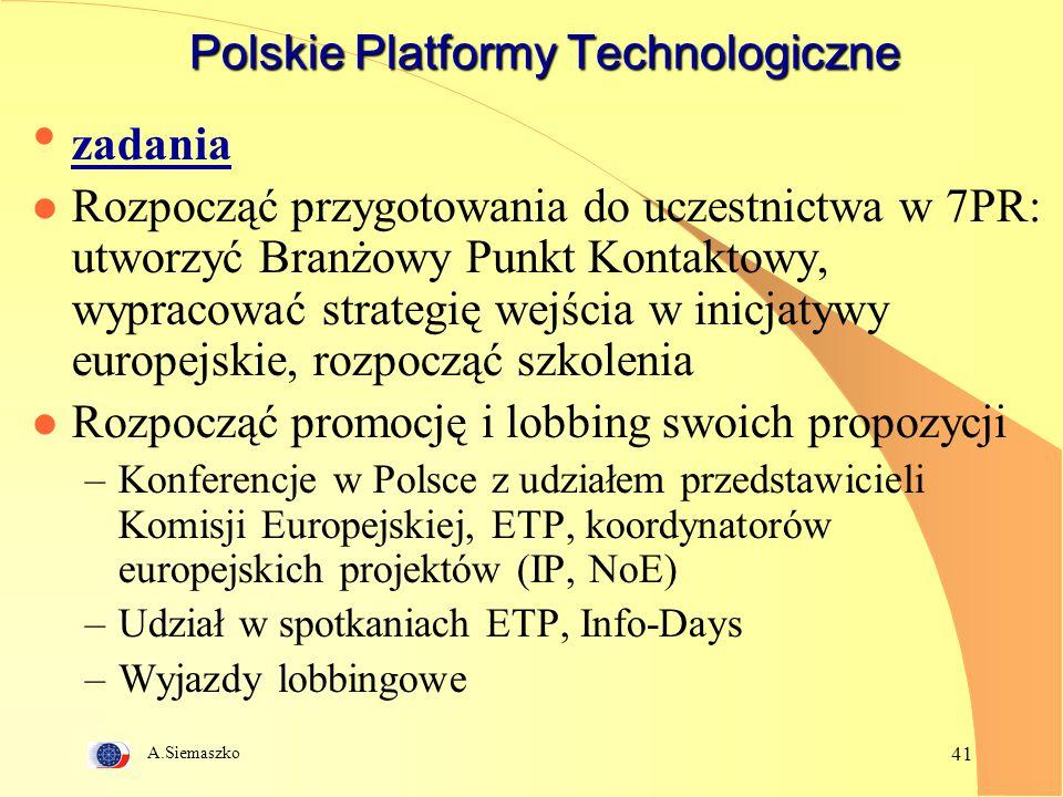 A.Siemaszko 41 Polskie Platformy Technologiczne zadania l Rozpocząć przygotowania do uczestnictwa w 7PR: utworzyć Branżowy Punkt Kontaktowy, wypracowa