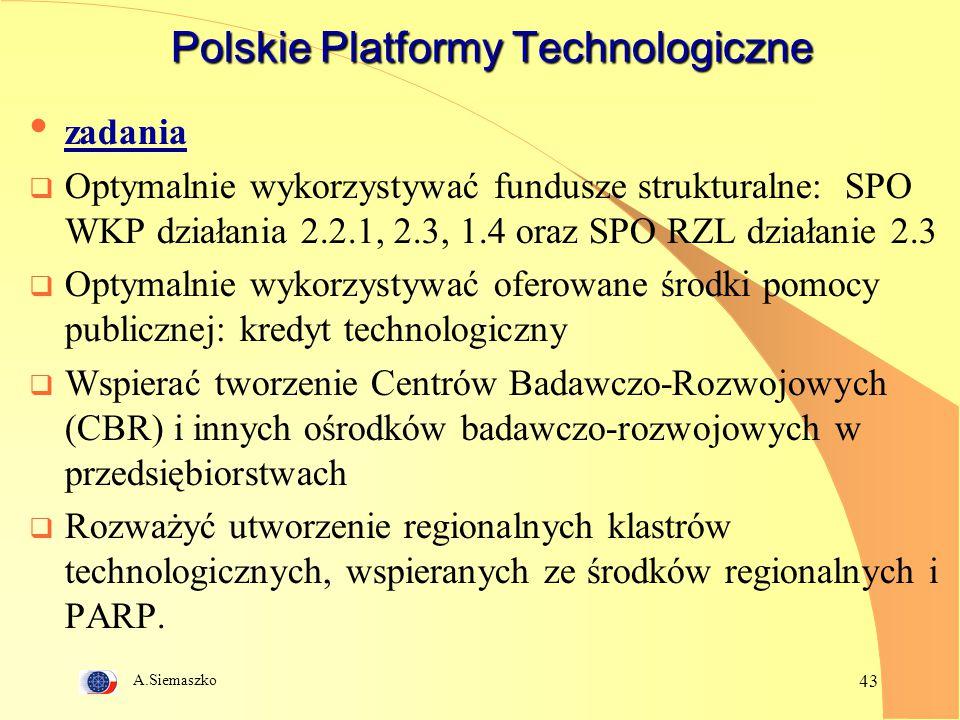 A.Siemaszko 43 Polskie Platformy Technologiczne zadania  Optymalnie wykorzystywać fundusze strukturalne: SPO WKP działania 2.2.1, 2.3, 1.4 oraz SPO R