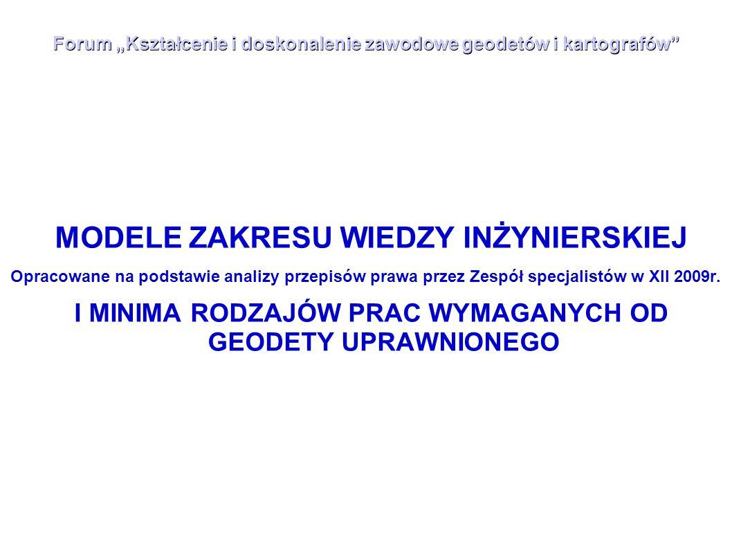 """Forum """"Kształcenie i doskonalenie zawodowe geodetów i kartografów"""" MODELE ZAKRESU WIEDZY INŻYNIERSKIEJ Opracowane na podstawie analizy przepisów prawa"""