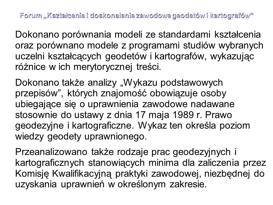 """Forum """"Kształcenie i doskonalenie zawodowe geodetów i kartografów"""" Dokonano porównania modeli ze standardami kształcenia oraz porównano modele z progr"""