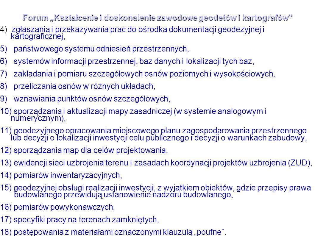 """Forum """"Kształcenie i doskonalenie zawodowe geodetów i kartografów"""" 4) zgłaszania i przekazywania prac do ośrodka dokumentacji geodezyjnej i kartografi"""