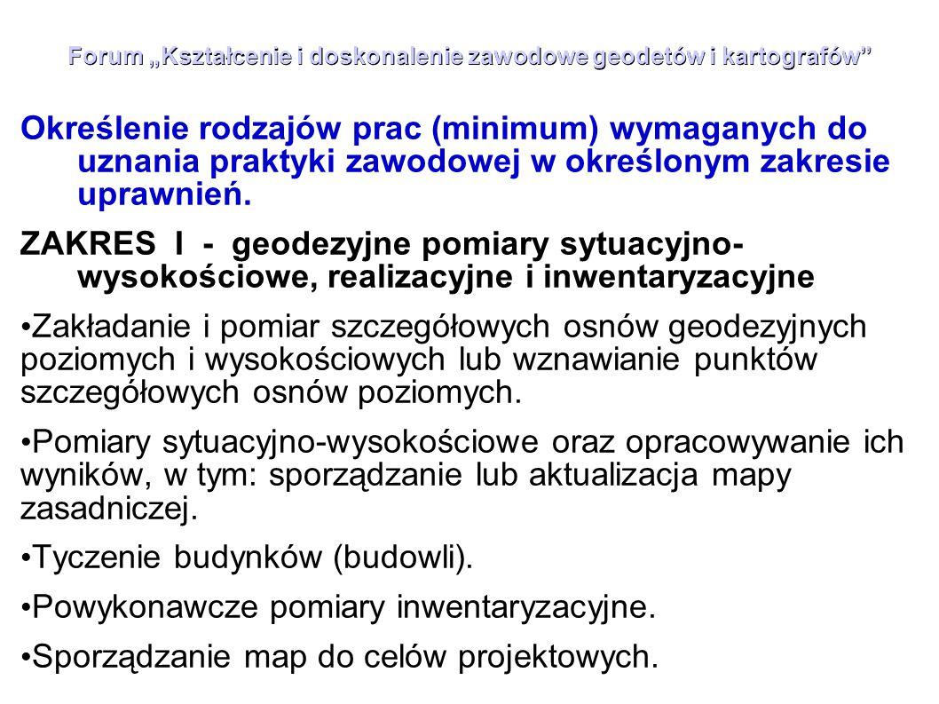"""Forum """"Kształcenie i doskonalenie zawodowe geodetów i kartografów"""" Określenie rodzajów prac (minimum) wymaganych do uznania praktyki zawodowej w okreś"""