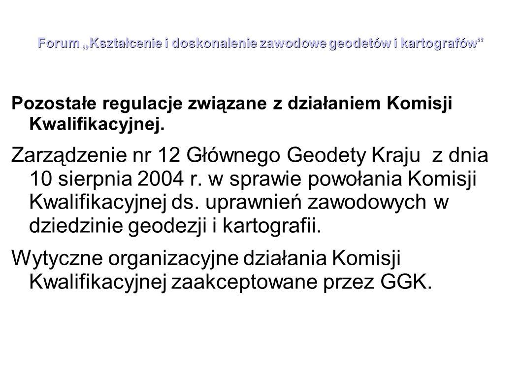 """Forum """"Kształcenie i doskonalenie zawodowe geodetów i kartografów Model zakresu wiedzy geodety uprawnionego z zakresu 4 uprawnień zawodowych """"geodezyjna obsługa inwestycji Geodeta uprawniony w tym zakresie powinien posiadać ugruntowaną wiedzę dotyczącą: 1) przepisów o charakterze ogólnym: Konstytucja, Kodeksy (cywilny, postępowania administracyjnego, postępowania cywilnego, pracy), ustawy: o administracji publicznej, o ochronie danych osobowych, o ochronie informacji niejawnych, Prawo geodezyjne i kartograficzne, o planowaniu i zagospodarowaniu przestrzennym, Prawo budowlane, bezpieczeństwo i higiena pracy i inne tego rodzaju, a także określone przepisy wykonawcze (egzamin testowy) 2) przepisów specjalnych związanych z realizacją prac z zakresu czwartego, określonych w """"Wykazie przepisów podstawowych , a w szczególności określone przepisy wykonawcze do ustawy Prawo geodezyjne i kartograficzne, standardy techniczne (instrukcje), wytyczne techniczne, interpretacje Głównego Geodety Kraju, wyroki Trybunału Konstytucyjnego (część opisowa egzaminu), 3)funkcjonowania Państwowego Zasobu Geodezyjnego i Kartograficznego i składowanych tam materiałów, 4) zgłaszania i przekazywania prac do ośrodka dokumentacji geodezyjnej i kartograficznej, 5) państwowego systemu odniesień przestrzennych, 6) systemów informacji przestrzennej, baz danych i lokalizacji tych baz,"""