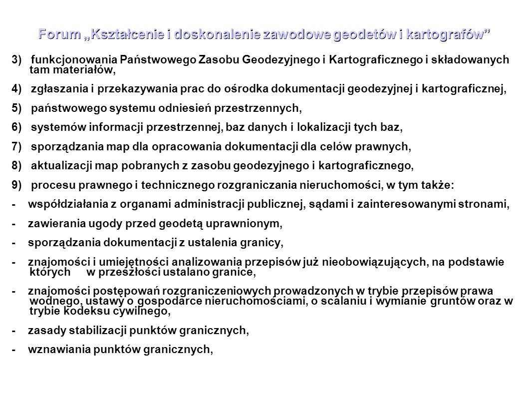 """Forum """"Kształcenie i doskonalenie zawodowe geodetów i kartografów"""" 3) funkcjonowania Państwowego Zasobu Geodezyjnego i Kartograficznego i składowanych"""