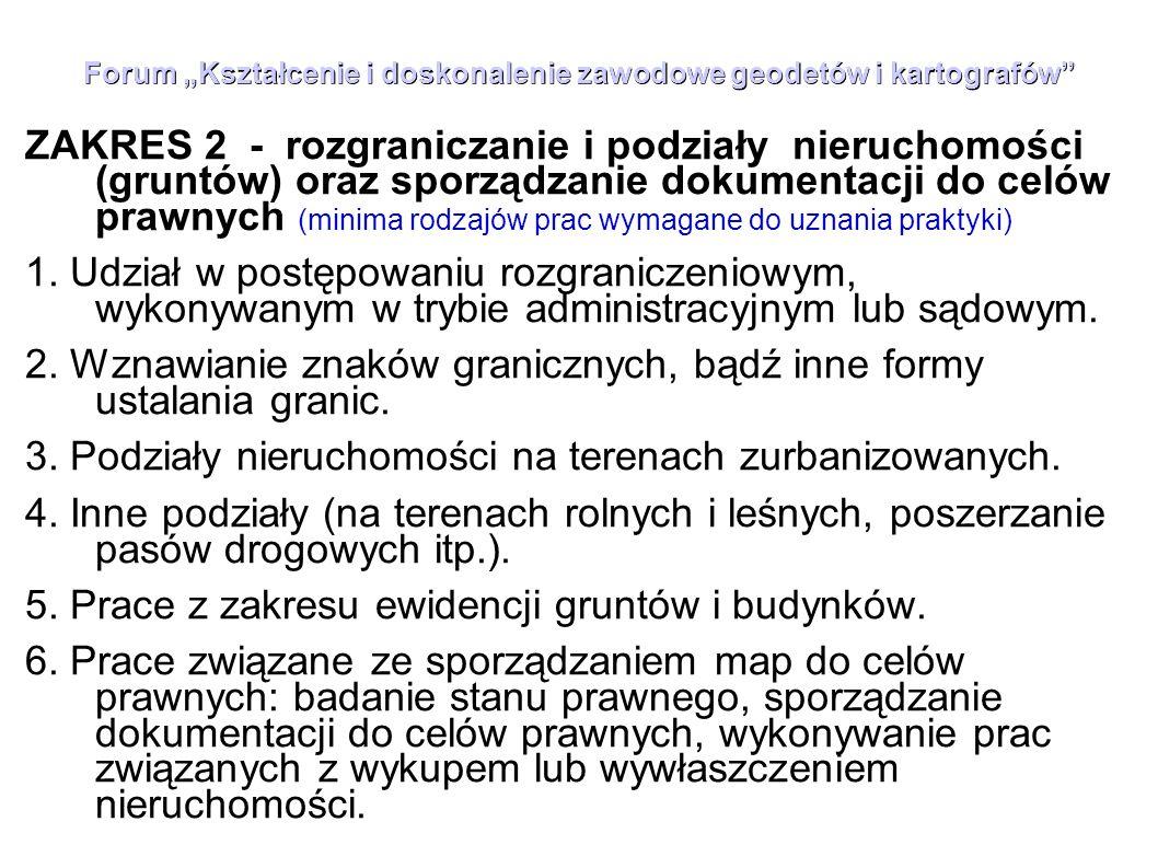 """Forum """"Kształcenie i doskonalenie zawodowe geodetów i kartografów"""" ZAKRES 2 - rozgraniczanie i podziały nieruchomości (gruntów) oraz sporządzanie doku"""