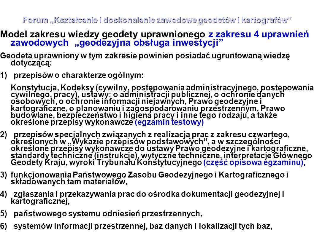 """Forum """"Kształcenie i doskonalenie zawodowe geodetów i kartografów"""" Model zakresu wiedzy geodety uprawnionego z zakresu 4 uprawnień zawodowych """"geodezy"""