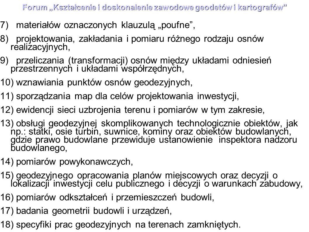 """Forum """"Kształcenie i doskonalenie zawodowe geodetów i kartografów"""" 7) materiałów oznaczonych klauzulą """"poufne"""", 8) projektowania, zakładania i pomiaru"""