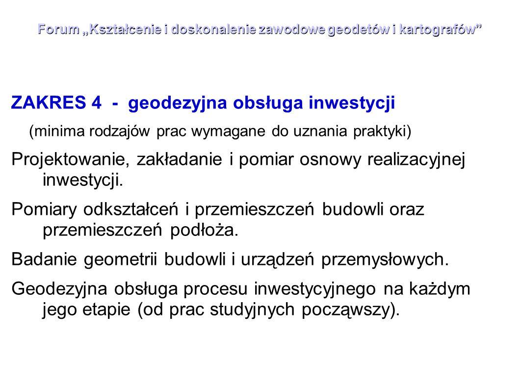 """Forum """"Kształcenie i doskonalenie zawodowe geodetów i kartografów"""" ZAKRES 4 - geodezyjna obsługa inwestycji (minima rodzajów prac wymagane do uznania"""
