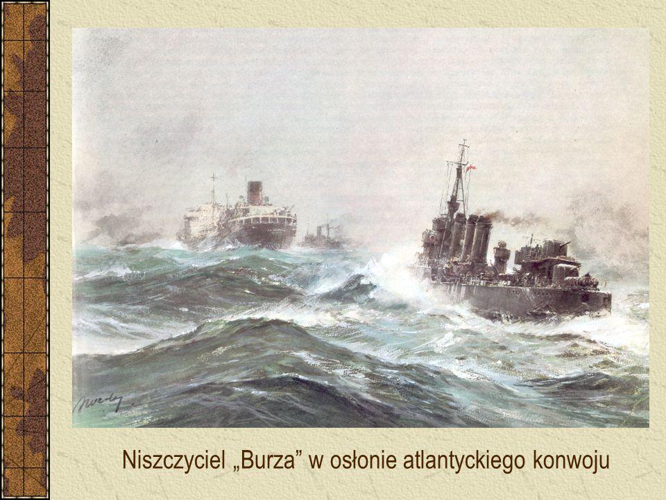 """Niszczyciel """"Burza"""" w osłonie atlantyckiego konwoju"""