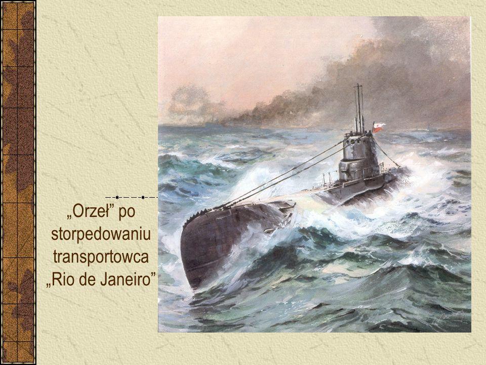 """""""Orzeł"""" po storpedowaniu transportowca """"Rio de Janeiro"""""""