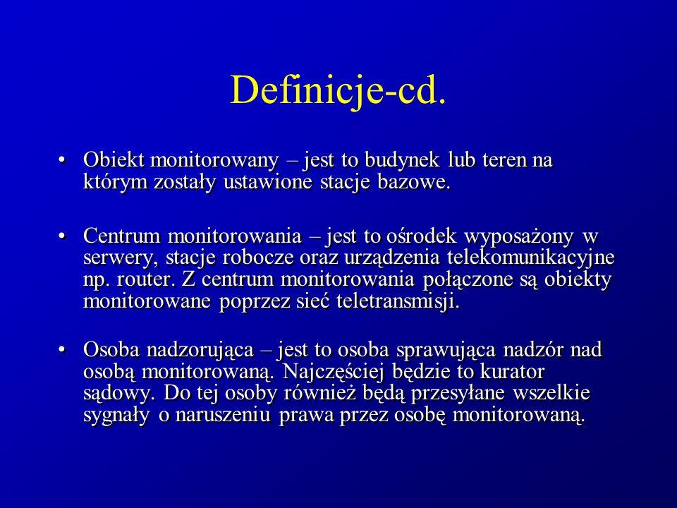 Definicje-cd. Obiekt monitorowany – jest to budynek lub teren na którym zostały ustawione stacje bazowe. Centrum monitorowania – jest to ośrodek wypos