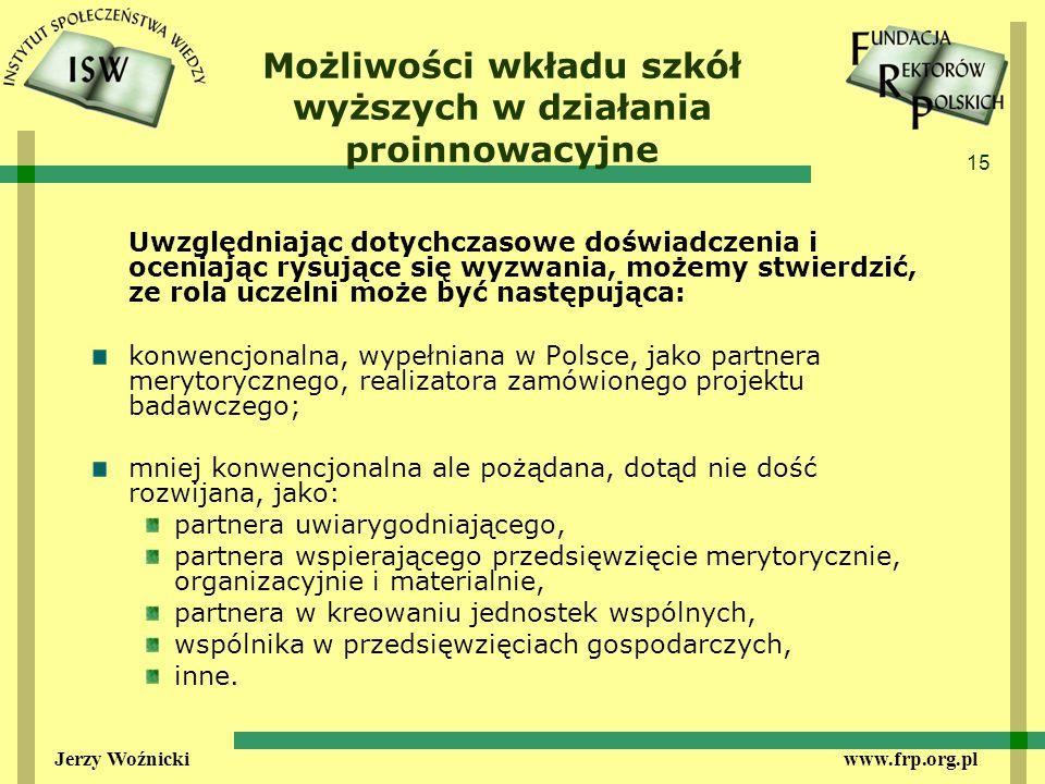 15 Jerzy Woźnicki www.frp.org.pl Możliwości wkładu szkół wyższych w działania proinnowacyjne Uwzględniając dotychczasowe doświadczenia i oceniając rysujące się wyzwania, możemy stwierdzić, ze rola uczelni może być następująca: konwencjonalna, wypełniana w Polsce, jako partnera merytorycznego, realizatora zamówionego projektu badawczego; mniej konwencjonalna ale pożądana, dotąd nie dość rozwijana, jako: partnera uwiarygodniającego, partnera wspierającego przedsięwzięcie merytorycznie, organizacyjnie i materialnie, partnera w kreowaniu jednostek wspólnych, wspólnika w przedsięwzięciach gospodarczych, inne.