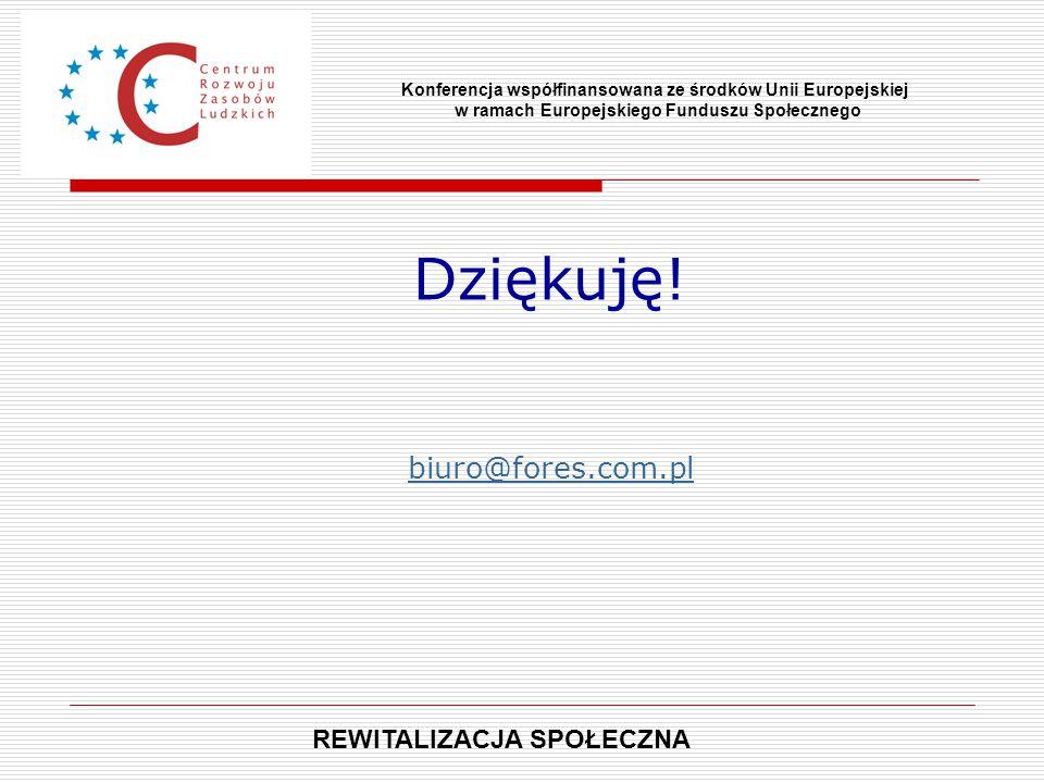 Dziękuję! biuro@fores.com.pl Konferencja współfinansowana ze środków Unii Europejskiej w ramach Europejskiego Funduszu Społecznego REWITALIZACJA SPOŁE