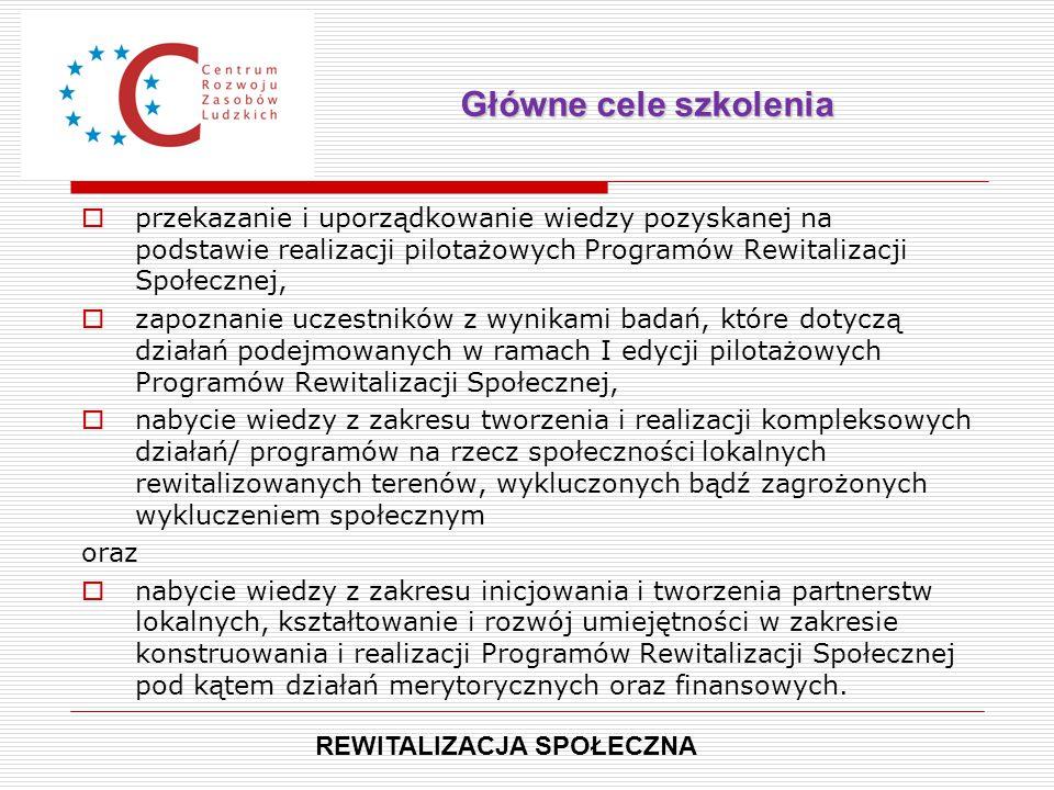  przekazanie i uporządkowanie wiedzy pozyskanej na podstawie realizacji pilotażowych Programów Rewitalizacji Społecznej,  zapoznanie uczestników z w