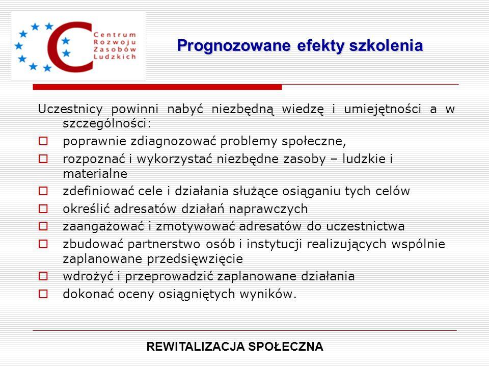 Uczestnicy powinni nabyć niezbędną wiedzę i umiejętności a w szczególności:  poprawnie zdiagnozować problemy społeczne,  rozpoznać i wykorzystać nie
