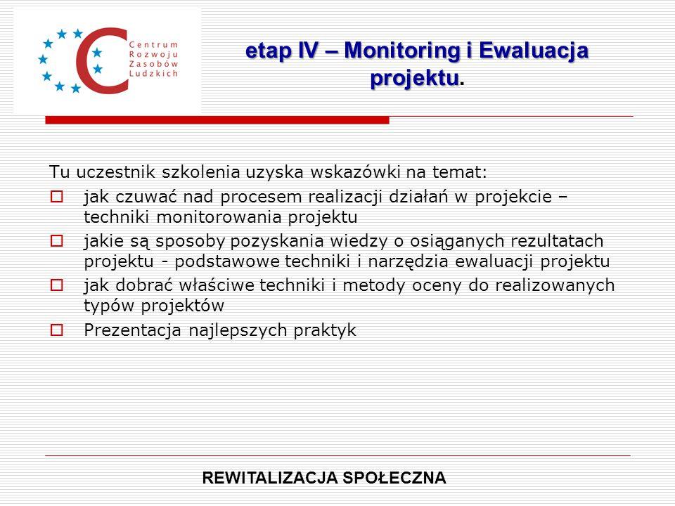 Tu uczestnik szkolenia uzyska wskazówki na temat:  jak czuwać nad procesem realizacji działań w projekcie – techniki monitorowania projektu  jakie s