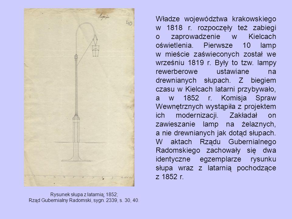 Rysunek słupa z latarnią; 1852; Rząd Gubernialny Radomski, sygn.