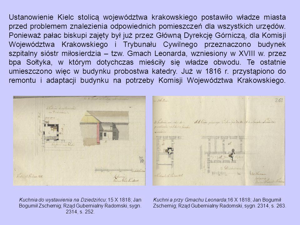 Ustanowienie Kielc stolicą województwa krakowskiego postawiło władze miasta przed problemem znalezienia odpowiednich pomieszczeń dla wszystkich urzędów.