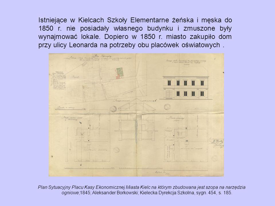 Istniejące w Kielcach Szkoły Elementarne żeńska i męska do 1850 r.