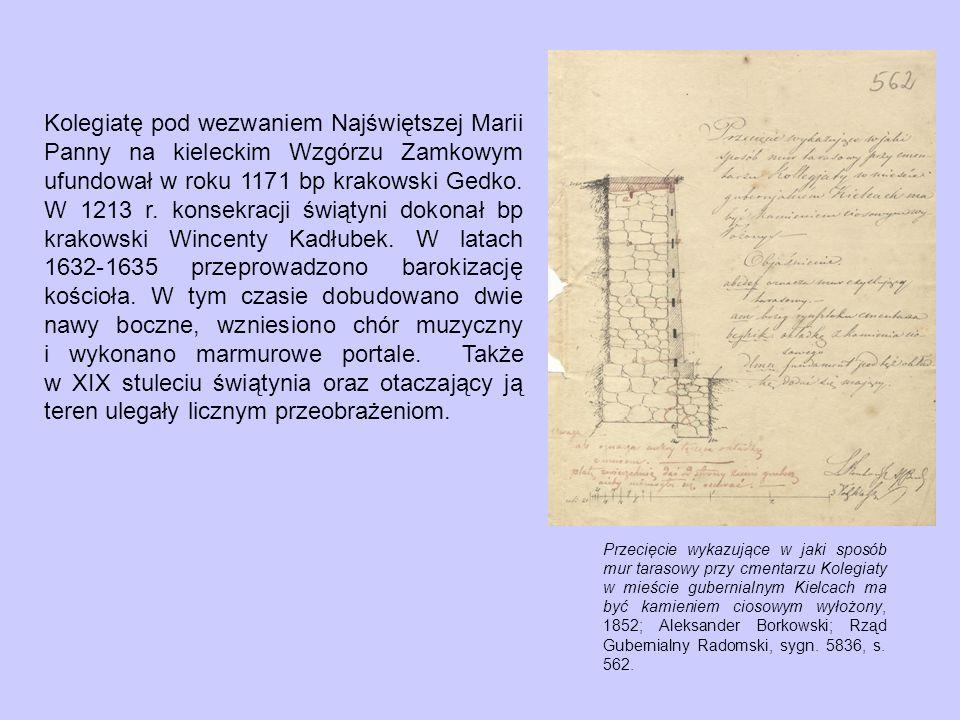 Przecięcie wykazujące w jaki sposób mur tarasowy przy cmentarzu Kolegiaty w mieście gubernialnym Kielcach ma być kamieniem ciosowym wyłożony, 1852; Aleksander Borkowski; Rząd Gubernialny Radomski, sygn.