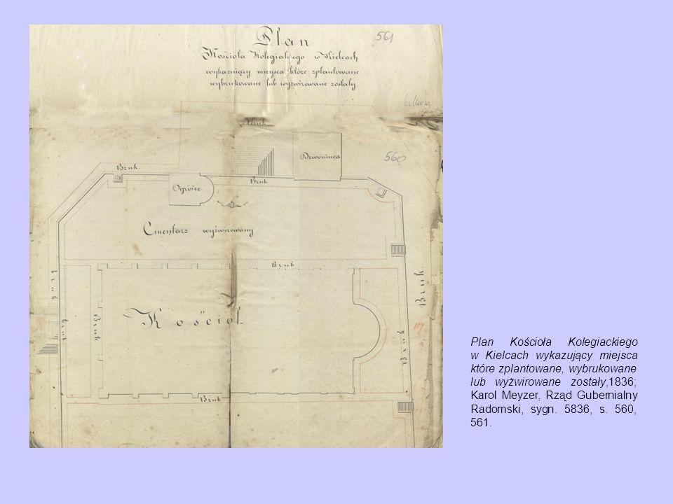 Plan Kościoła Kolegiackiego w Kielcach wykazujący miejsca które zplantowane, wybrukowane lub wyżwirowane zostały,1836; Karol Meyzer, Rząd Gubernialny Radomski, sygn.