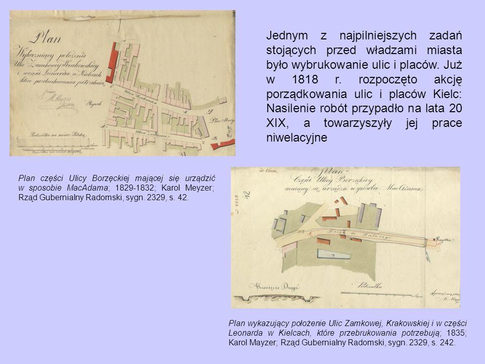 Plany Niwelacyjne Rynku na Krzyż Ulicy Warszawskiej wzdłuż tudzież Ulic Warszawskiej i Krakowskiej w poprzek, stosownie do których Bruk w mieście Wojewódzkim Kielce uskuteczniony, sporządzone przez Z.