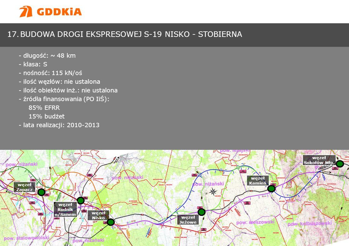 Generalna Dyrekcja Dróg Krajowych i Autostradwww.gddkia.gov.pl 17.BUDOWA DROGI EKSPRESOWEJ S-19 NISKO - STOBIERNA - długość: ~ 48 km - klasa: S - nośn