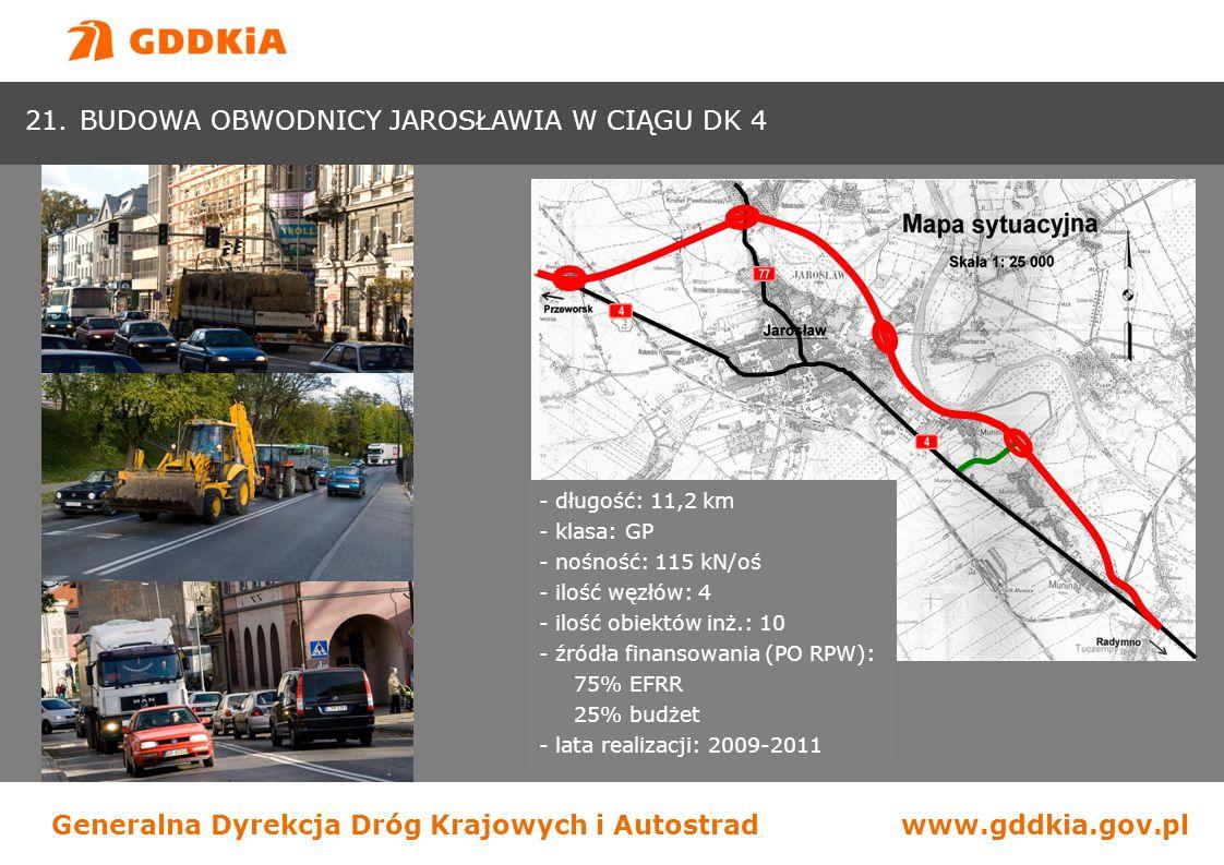 Generalna Dyrekcja Dróg Krajowych i Autostradwww.gddkia.gov.pl - długość: 11,2 km - klasa: GP - nośność: 115 kN/oś - ilość węzłów: 4 - ilość obiektów
