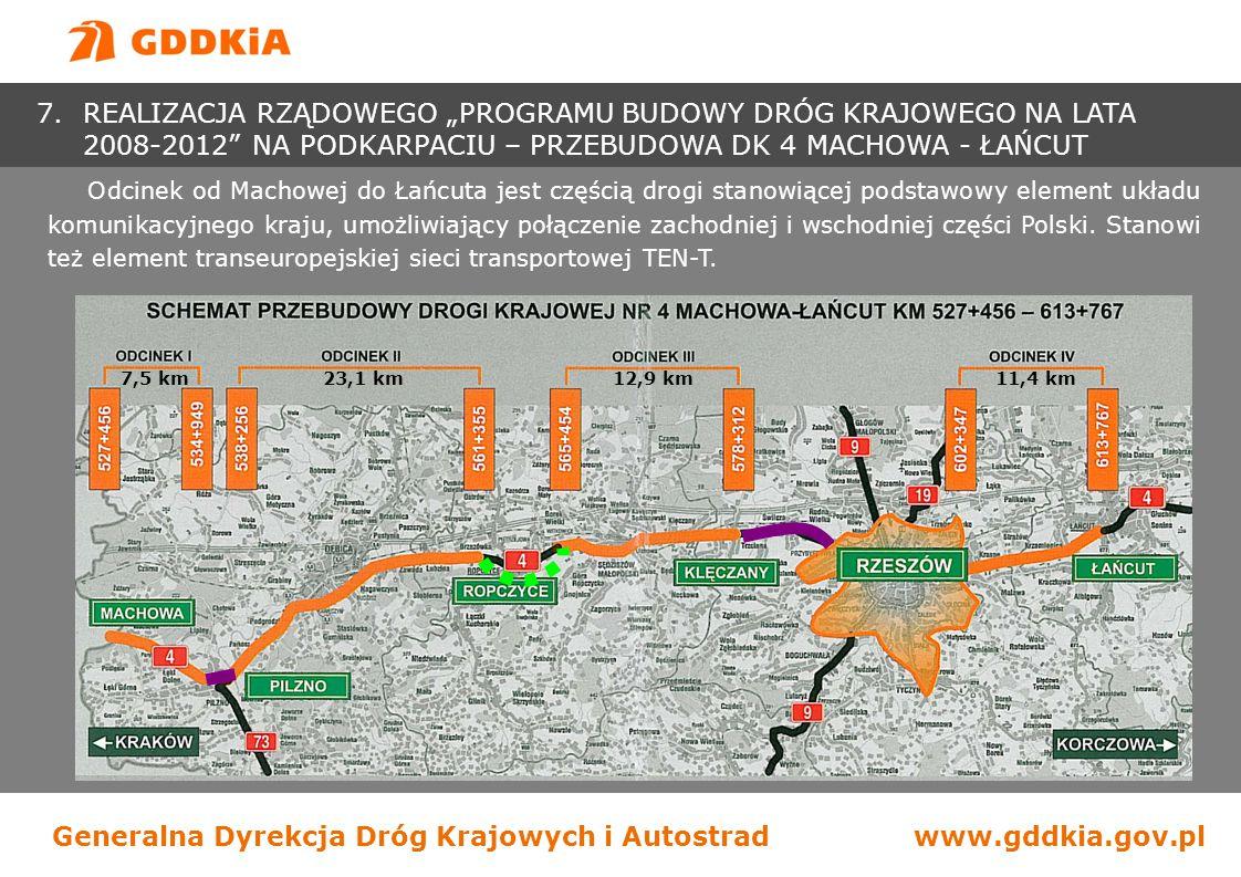 Generalna Dyrekcja Dróg Krajowych i Autostradwww.gddkia.gov.pl - długość: 54,9 km - klasa: GP - nośność: 115 kN/oś - ilość węzłów: brak - ilość obiektów inż.: 92 - poprawa BRD, urządzenia ochrony środowiska - koszty: 575 mln zł - finansowanie: budżet, planowane do współfinansowania ze środków UE - lata realizacji: 2008-2010 -Odcinek I (umowa z 05.08.2008 r.) Konsorcjum: Rejon Budowy Dróg i Mostów w Krośnie Sp.
