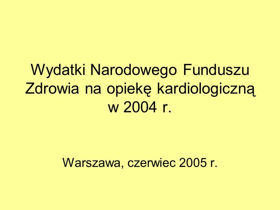Wydatki Narodowego Funduszu Zdrowia na opiekę kardiologiczną w 2004 r. Warszawa, czerwiec 2005 r.