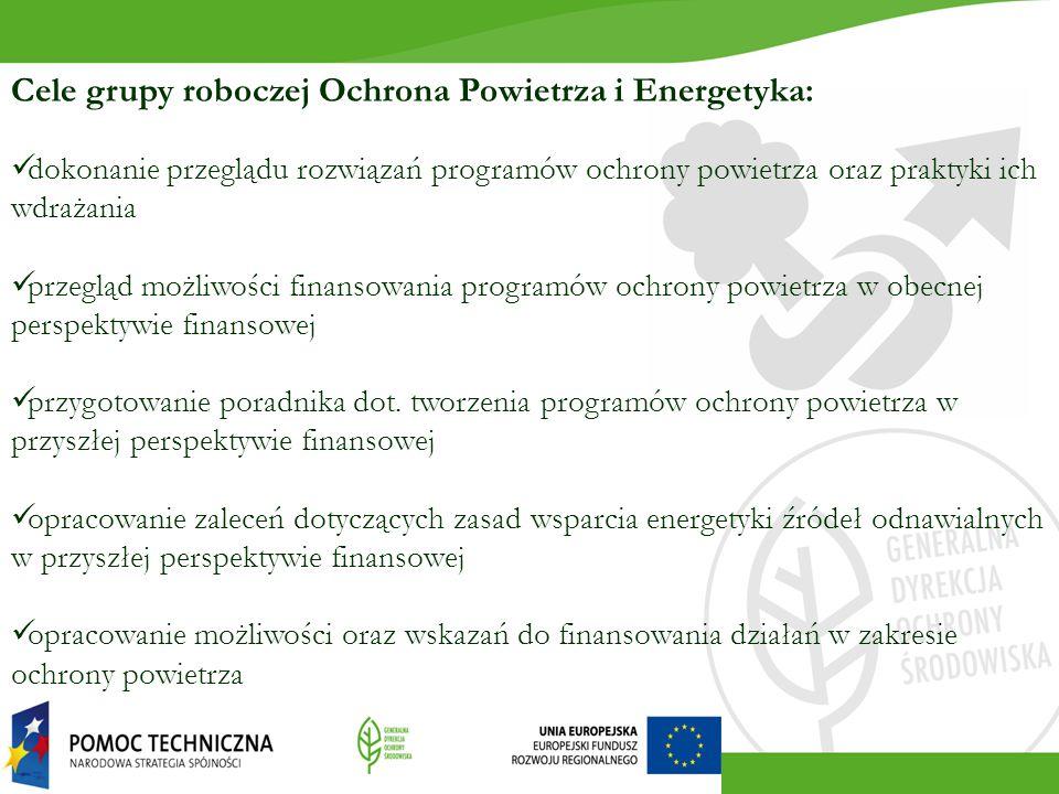 Cele grupy roboczej Ochrona Powietrza i Energetyka: dokonanie przeglądu rozwiązań programów ochrony powietrza oraz praktyki ich wdrażania przegląd możliwości finansowania programów ochrony powietrza w obecnej perspektywie finansowej przygotowanie poradnika dot.