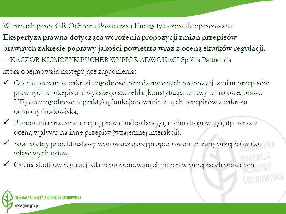 W ramach pracy GR Ochrona Powietrza i Energetyka została opracowana Ekspertyza prawna dotycząca wdrożenia propozycji zmian przepisów prawnych zakresie poprawy jakości powietrza wraz z oceną skutków regulacji.