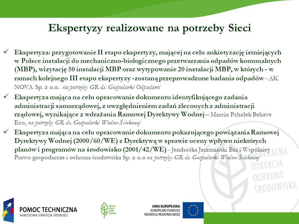 Ekspertyzy realizowane na potrzeby Sieci Ekspertyza: przygotowanie II etapu ekspertyzy, mającej na celu ankietyzację istniejących w Polsce instalacji