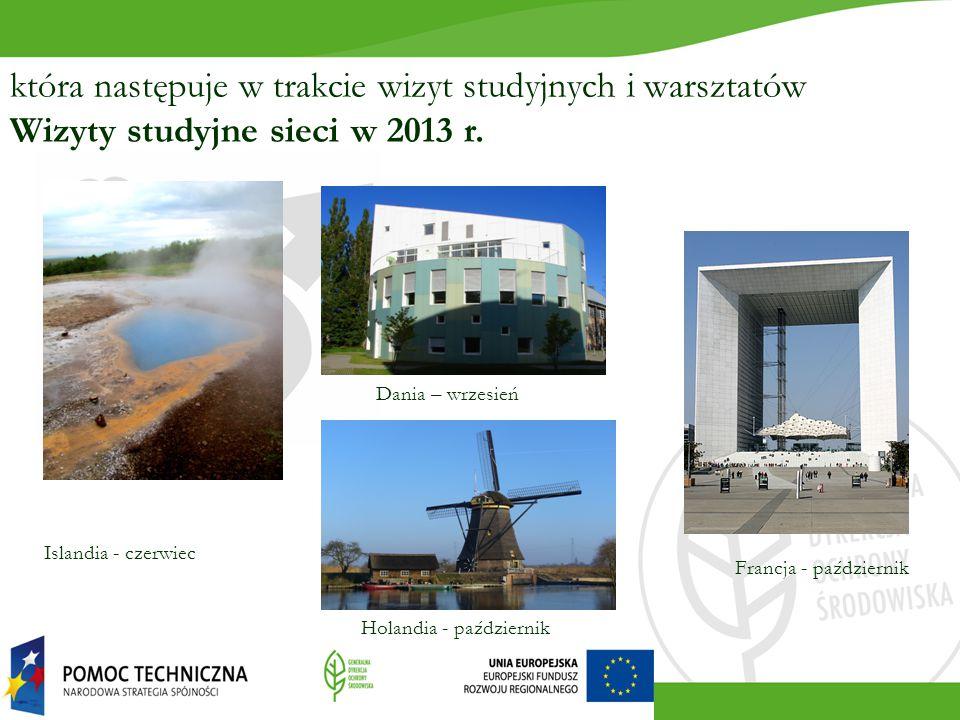 która następuje w trakcie wizyt studyjnych i warsztatów Wizyty studyjne sieci w 2013 r. Dania – wrzesień Islandia - czerwiec Holandia - październik Fr