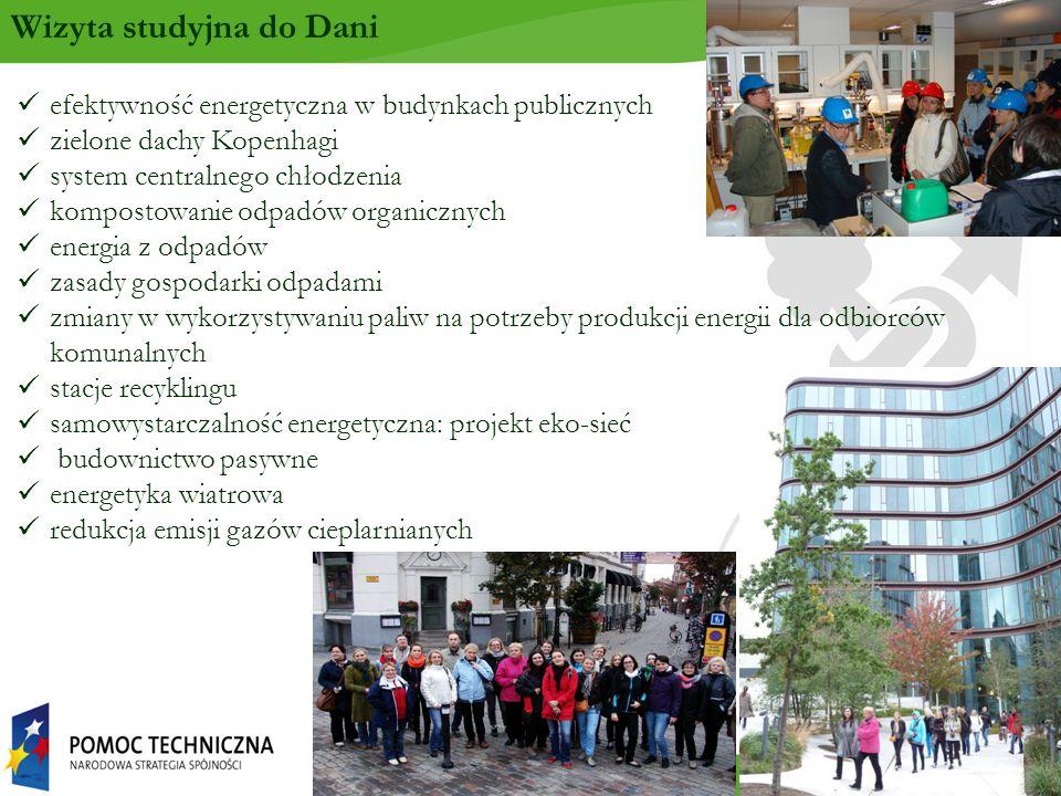 efektywność energetyczna w budynkach publicznych zielone dachy Kopenhagi system centralnego chłodzenia kompostowanie odpadów organicznych energia z odpadów zasady gospodarki odpadami zmiany w wykorzystywaniu paliw na potrzeby produkcji energii dla odbiorców komunalnych stacje recyklingu samowystarczalność energetyczna: projekt eko-sieć budownictwo pasywne energetyka wiatrowa redukcja emisji gazów cieplarnianych Wizyta studyjna do Dani
