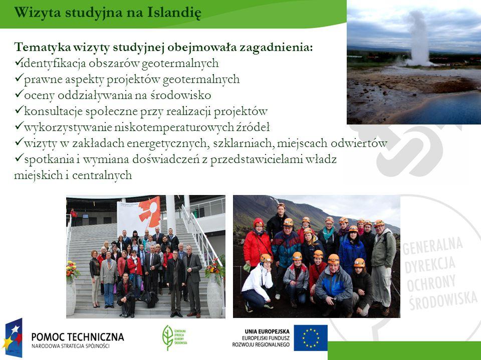 Tematyka wizyty studyjnej obejmowała zagadnienia: identyfikacja obszarów geotermalnych prawne aspekty projektów geotermalnych oceny oddziaływania na środowisko konsultacje społeczne przy realizacji projektów wykorzystywanie niskotemperaturowych źródeł wizyty w zakładach energetycznych, szklarniach, miejscach odwiertów spotkania i wymiana doświadczeń z przedstawicielami władz miejskich i centralnych Wizyta studyjna na Islandię
