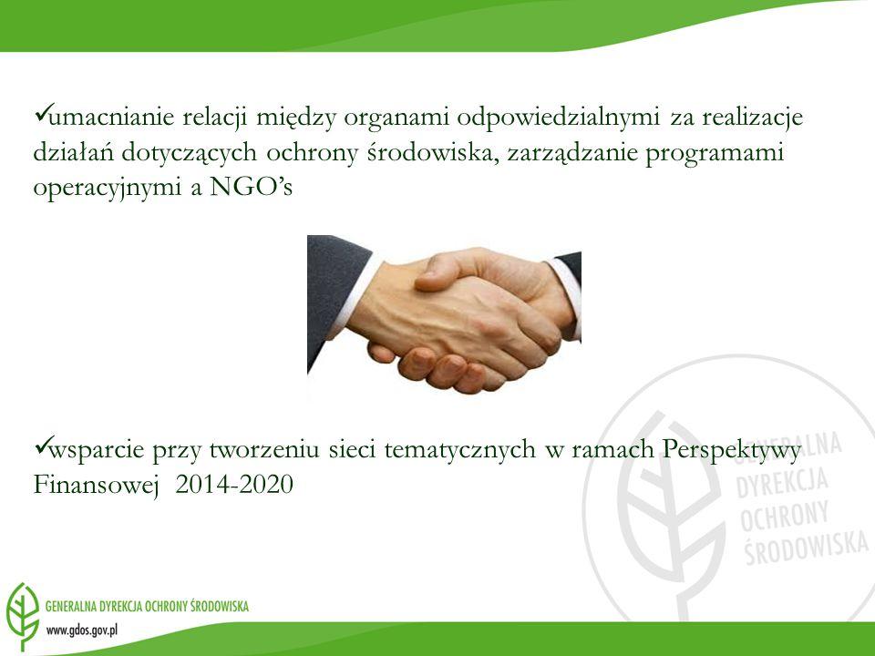 umacnianie relacji między organami odpowiedzialnymi za realizacje działań dotyczących ochrony środowiska, zarządzanie programami operacyjnymi a NGO's