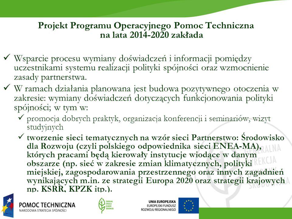 Projekt Programu Operacyjnego Pomoc Techniczna na lata 2014-2020 zakłada Wsparcie procesu wymiany doświadczeń i informacji pomiędzy uczestnikami systemu realizacji polityki spójności oraz wzmocnienie zasady partnerstwa.
