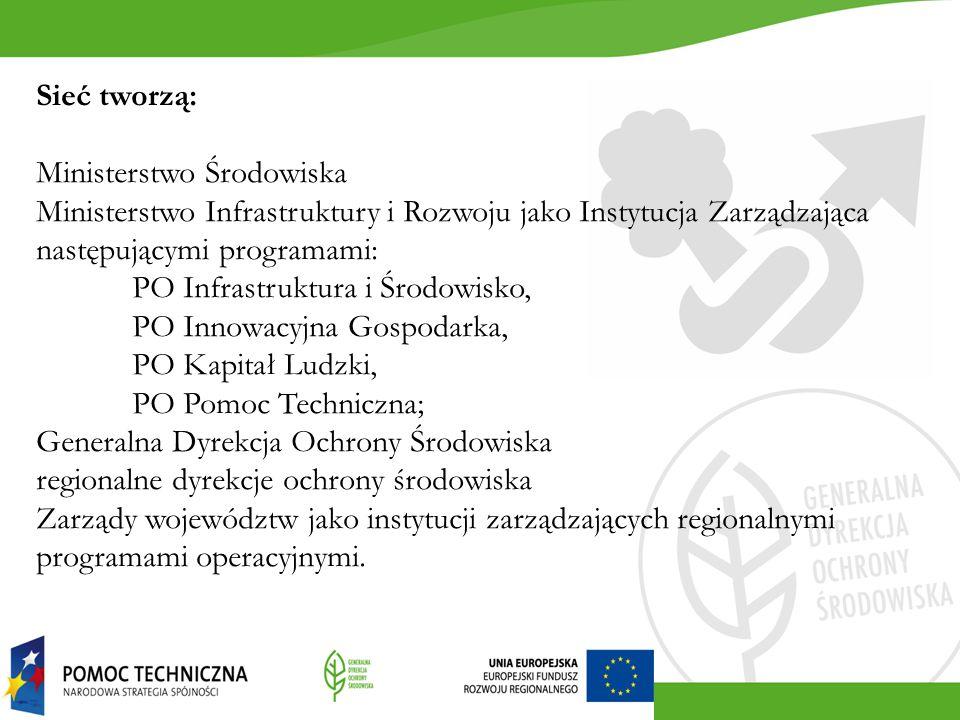 Sieć tworzą: Ministerstwo Środowiska Ministerstwo Infrastruktury i Rozwoju jako Instytucja Zarządzająca następującymi programami: PO Infrastruktura i